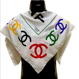 CHANEL Authentic 100% Silk Vintage Scarf.